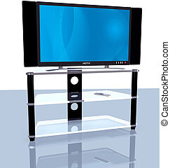 HDTV Blue Abstract Big Screen 3D - Illustration of a bright...