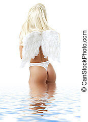 lingerie angel in water 2 - blond girl with angel wings in...