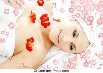 red flower petals spa with flowers - beautiful lady with red...
