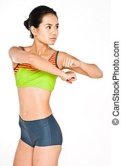 Fitness spin - Young attractive asian women in gym gear...