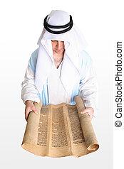 homem, leitura, scrolls