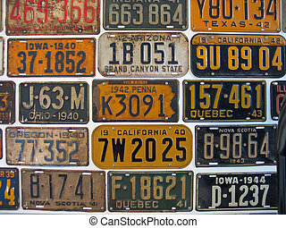 Old licence plates - Old American licence plates from the...