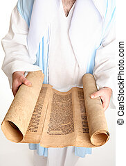 Bible scroll on gevil parchment - Focus to scrollThe Torah...