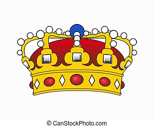 Crown illustration - Illustrated golden Crown decorated with...