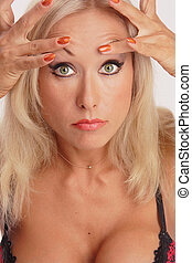 Need plastic? - Heavy maked up tanned girl exploring her...