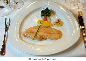Grilled fish - sole meniere with boiled potato and...