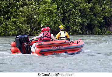 Rescue Team. - Fire and Rescue emergency team conducting a...