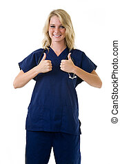 Two thumbs up - Young pretty blond woman healthcare worker...