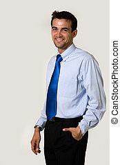 Young business man - Handsome brunette young smiling...