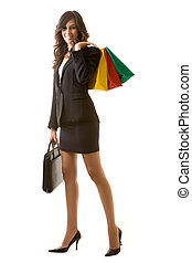 Shopping business woman - Full body of tall young brunette...