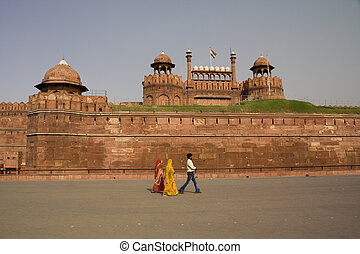 Red Fort Sari Delhi India - Women with saris walking in...
