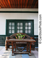Outdoor seating - Casual wooden outdoor seating area