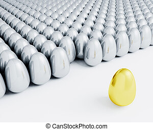 Stand out from the crowd - 3D render of one golden egg...