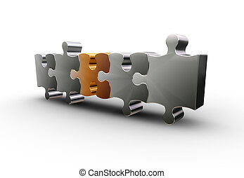 Puzzle pieces - 3D render of one gold puzzle piece with...