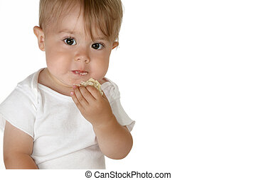 Baby Boy Eating - Caucasian baby boy eating a sandwich