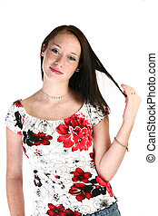 Expressions - Beautiful Seventeen year old girl making...
