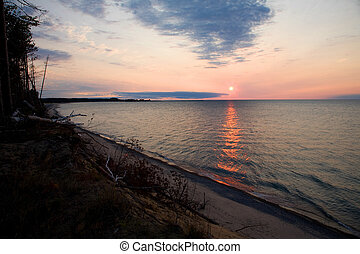 Lake Superior Sunset - Sunset over the Michigan's Pictured...