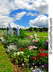 Versailles gardens - Blooming colorful flowerbeds in...