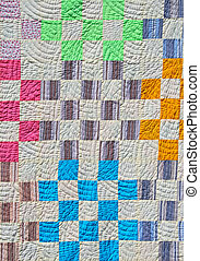 Patchwork background - Bright patchwork counterpane made of...