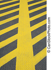No parking road marking - No parking yellow road marking on...