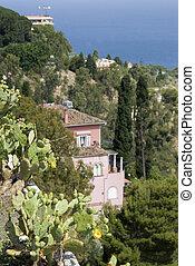 garden in sicily - sicily garden with villa in background...