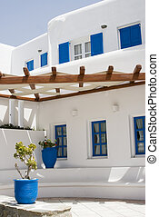 typical architecture greek islands cyclades hotel mykonos