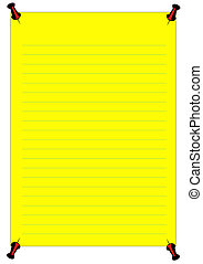 Yellow Notice - a yellow notice with blue lines and a red...