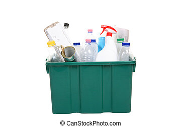 Recycling bin full of plastic bottles, containers, tins and...