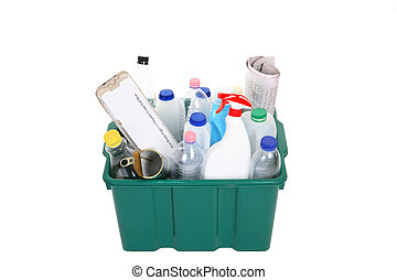 Recycling - A plastic container full of empty products for...