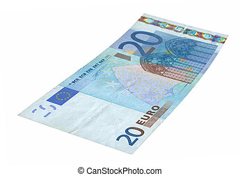 20 Euro banknote - close-up of 20 Euro banknote isolated on...