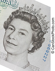 five pound note - Face of Queen Elizabeth in a 5 pound bill