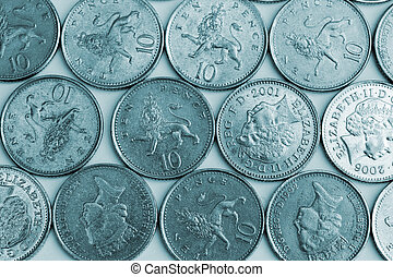 Ten pence pieces - Silver ten pence pieces in a pattern