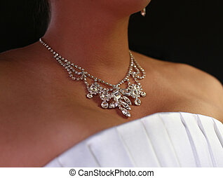 Wedding necklace - Wedding diamond necklace on a neck of the...