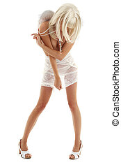 white angel on high heels - white lingerie angel girl on...