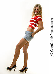 Sexy summer outfit - Full body of a beautiful blond hair...