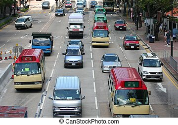 Traffic in China - Traffic in china with taxis, cars, and...