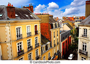 Street in Rennes - Street with colorful houses in Rennes,...