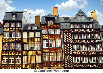 Medieval houses - Row of crooked medieval houses in Rennes,...