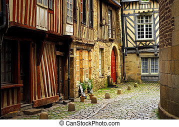 Medieval houses - Medieval street with half-timebered houses...