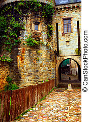 Old stone walls in Rennes - Medieval stone wall and tower in...