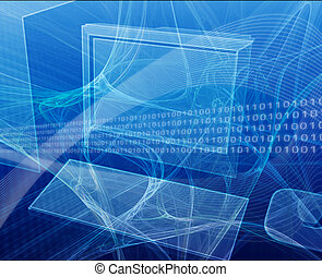 Computer workstation - Digital collage illustration of a...