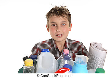 Boy with recycling - Boy holding a selection of recycling...
