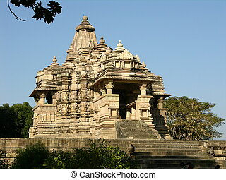 Ancient Hindu Temple at Khajuraho, India - Hindu Temple...