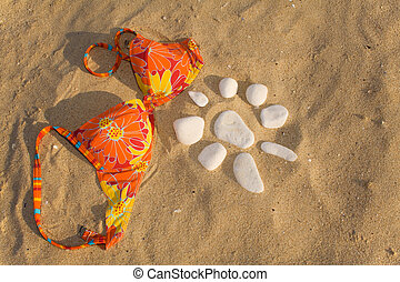 Hot beach sunset