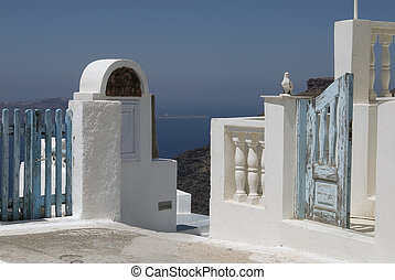 View of Santorini - Entrance to house with an aegean style.