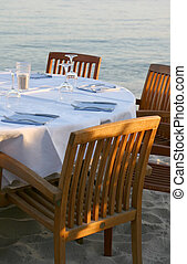 Restaurant on a beach - View of an empty table of a beach...
