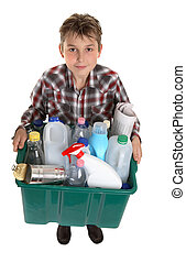 Recycle your trash - A boy with a bin of suitable trash for...