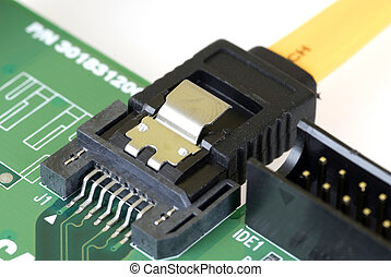 Technology - Serial ATA Card and Cable - Close-up image of a...