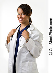 Young female doctor - Female attractive African American...