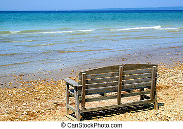 Single Bench By Lake - Bench at Lake shore of Mackinac in...